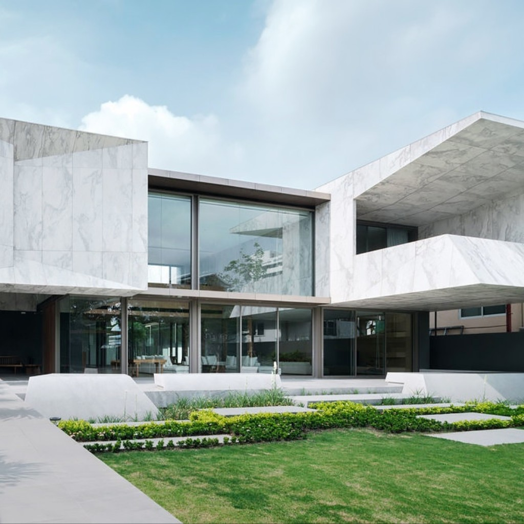 check out this monolithic marble house in bangkok | amuse